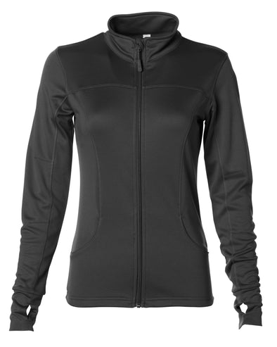 Front of black zip-up yoga jacket with front pockets and thumb holes.