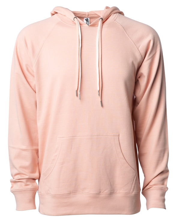 Front of a pink french terry pullover hoodie with a kangaroo pocket and two drawstrings.