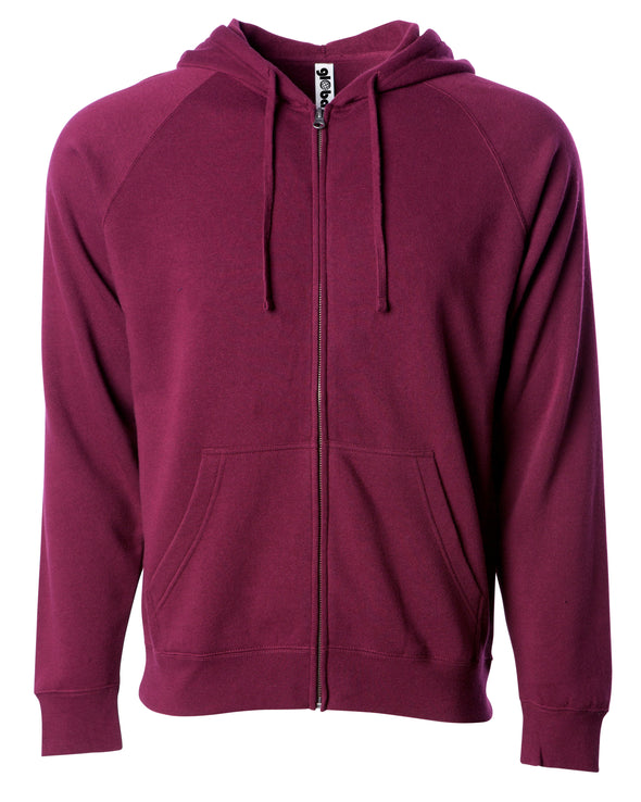 Front of a maroon fleece zip-up hoodie with front pockets and a drawstring.
