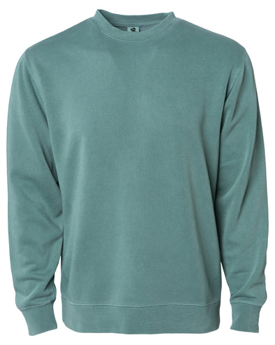 Front of a pastel green crew neck sweatshirt.
