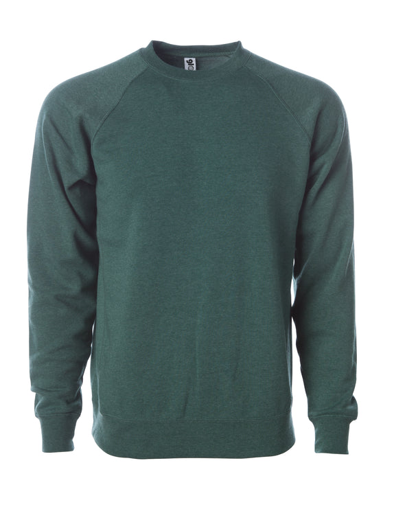 Front of a green fleece long sleeve crew neck sweater.