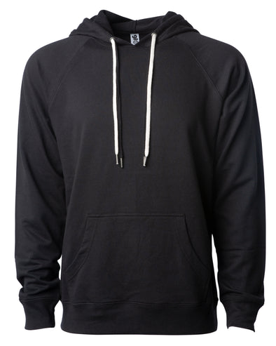 Front of a black french terry pullover hoodie with a kangaroo pocket and two drawstrings.