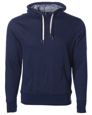 Front of navy blue french terry pullover hoodie with a kangaroo pocket, two drawstrings, and thumbholes.