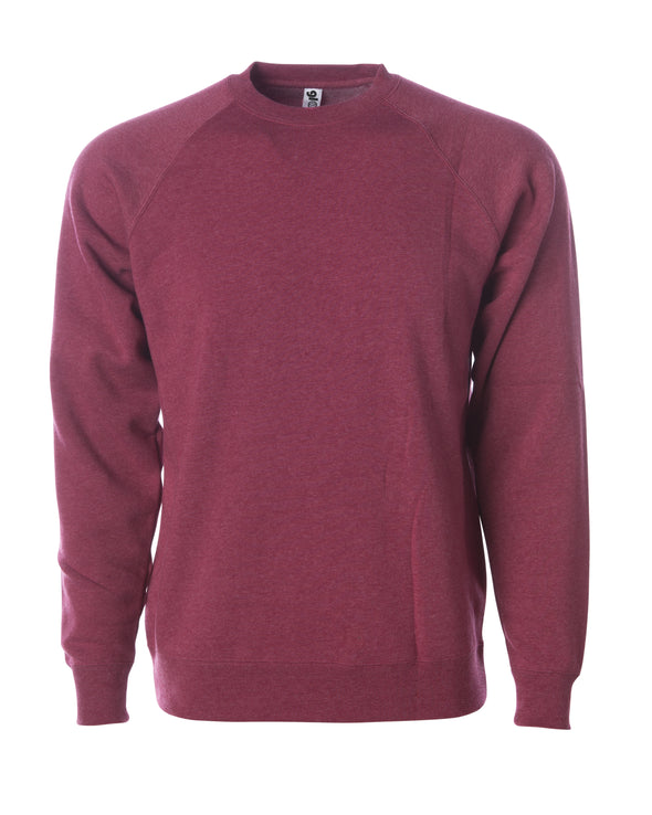 Front of a crimson fleece long sleeve crew neck sweater.