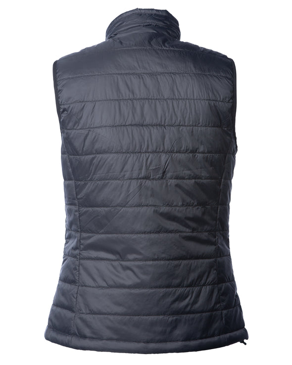Back of a woman's black puffer vest.