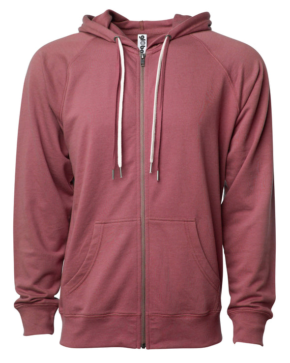 Front of a port red french terry zip-up hoodie with a kangaroo pocket and two drawstrings.
