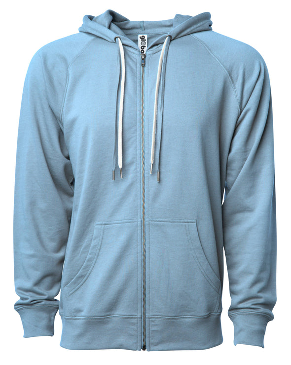 Front of a light blue french terry zip-up hoodie with a kangaroo pocket and two drawstrings.