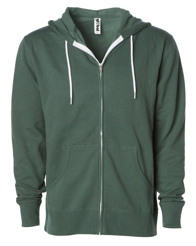 Front of a green zip-up fleece hoodie with front pockets and a white drawstring.