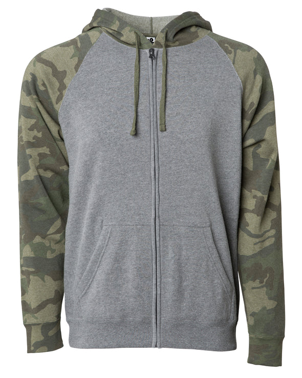 Front of a gray fleece zip-up hoodie with green camouflage sleeves and hood.