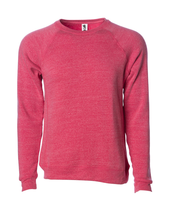 Front of a pomegranate pink fleece long sleeve crew neck sweater.