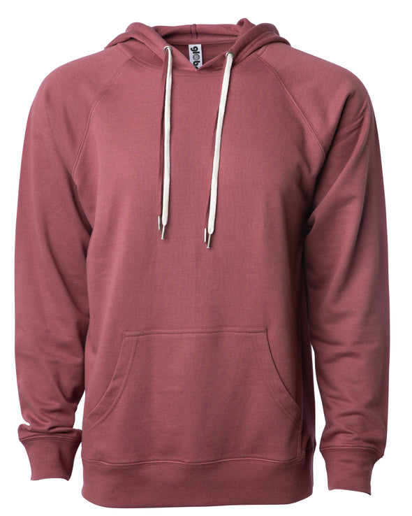 Front of a port red french terry pullover hoodie with a kangaroo pocket and two drawstrings.