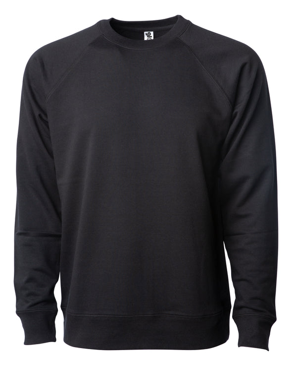 Front of a black french terry long sleeve crew neck sweater.