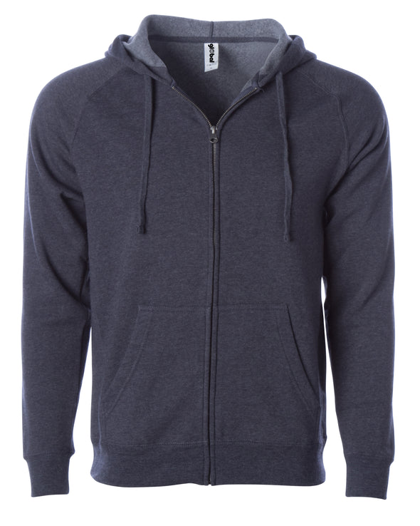 Front of a midnight blue fleece zip-up hoodie with front pockets and a drawstring.