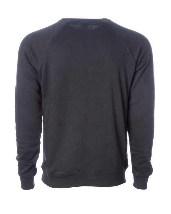 Back of a black fleece long sleeve crew neck sweater.