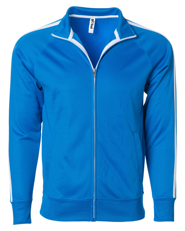 Front of a bright blue zip-up track jacket with two vertical white stripes along the sleeves and an open collar.