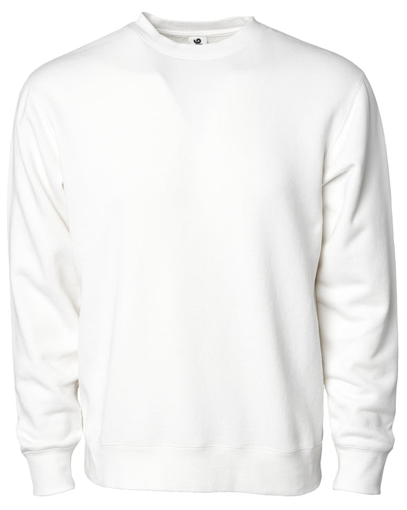 Front of a white crew neck sweatshirt.
