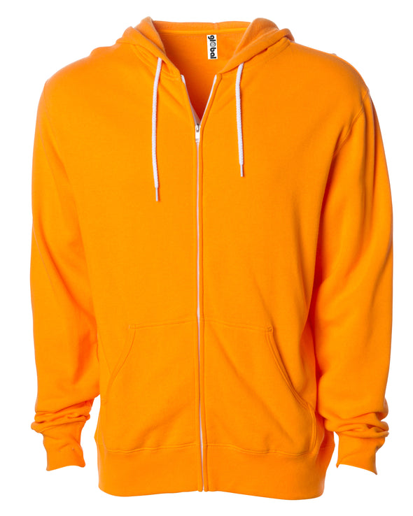Front of a bright orange zip-up fleece hoodie with front pockets and a white drawstring.