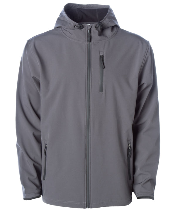 Front of gray tech jacket with hood and zipper chest pocket.