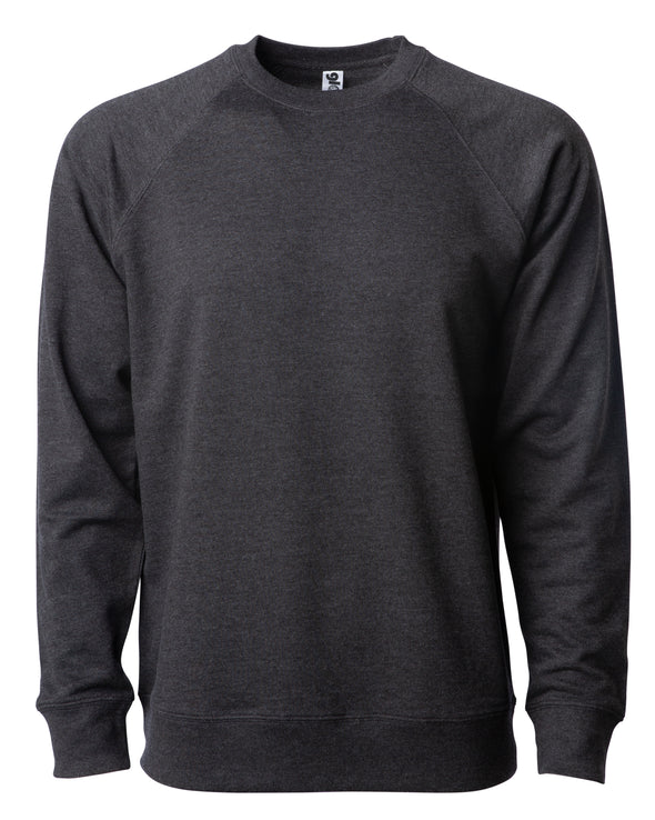 Front of a charcoal gray french terry long sleeve crew neck sweater.