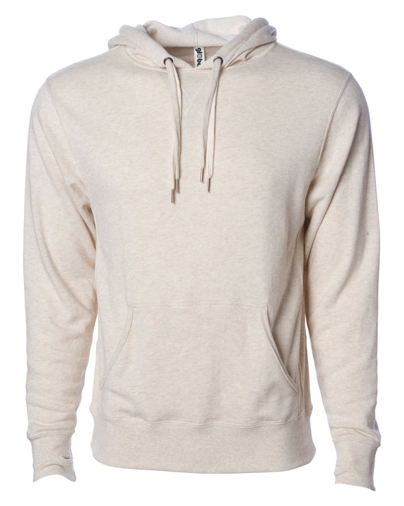 Front of beige french terry pullover hoodie with a kangaroo pocket, two drawstrings, and thumbholes.
