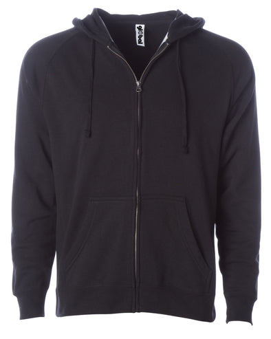 Front of a black fleece zip-up hoodie with front pockets and a drawstring.