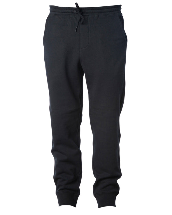 Front of black sweatpants with black drawstring waistband and cuffed ankles.