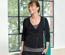 Load image into Gallery viewer, Women's Sweat jacket Modern, Black ,Organic Cotton.