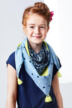Load image into Gallery viewer, Girl Scarf, Blue/Yellow ,Organic Cotton