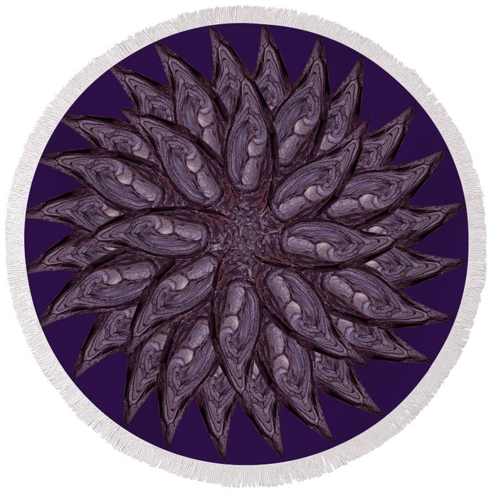 Meditating Monks In Lavender Kaleidoscope - Round Beach Towel