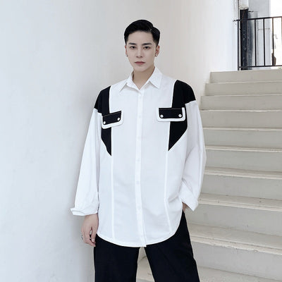 stitching contrast color long-sleeved shirt