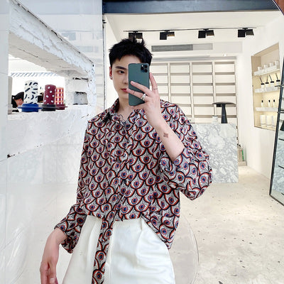 Summer floral long-sleeved shirt
