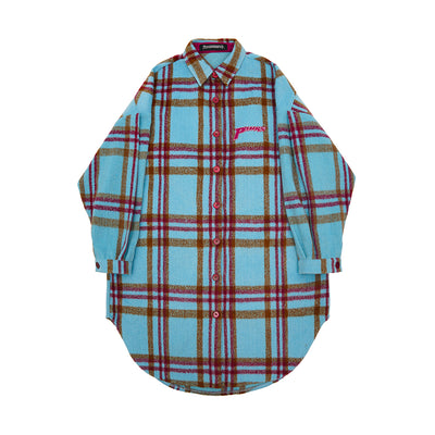 White contrast blue plaid check mid-length loose fit casual Girl shirt jacket