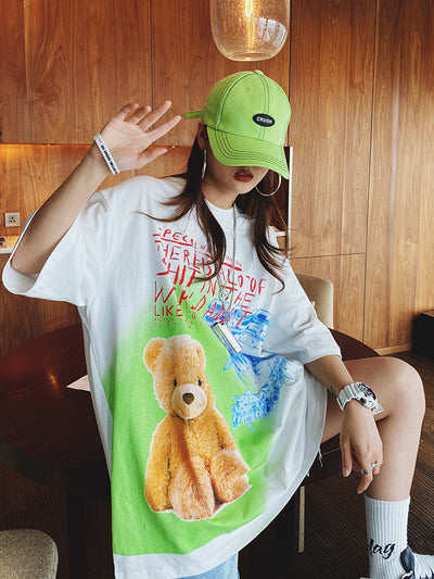 GRAFFITI BEAR PRINT LOOSE FIT UNISEX T-SHIRT