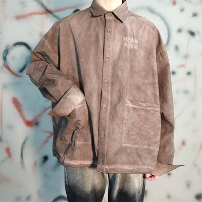 large pocket made to look vintage loose long-sleeved beam shirt