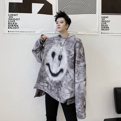 Oversize washed out tie-dye loose fit smiley emoji print sweatshirt