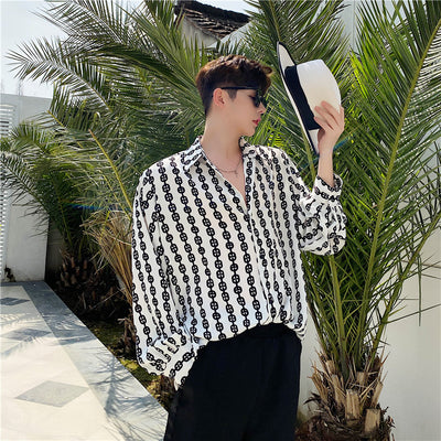 Summer pattern long-sleeve shirt in white