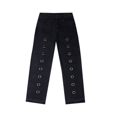 Loose Straight Casual Pants in Black