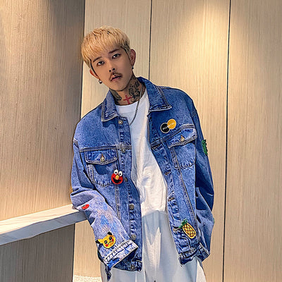 cartoon printed loose casual denim jacket