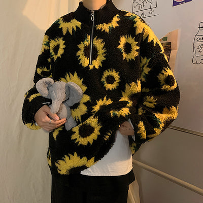 plaid fake fur lambswool daisy print jumper Korean skater sunflower fleece sweater in black