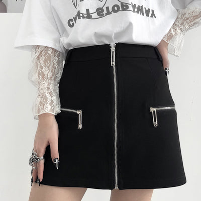 black high waist dark zipper a-line skirt