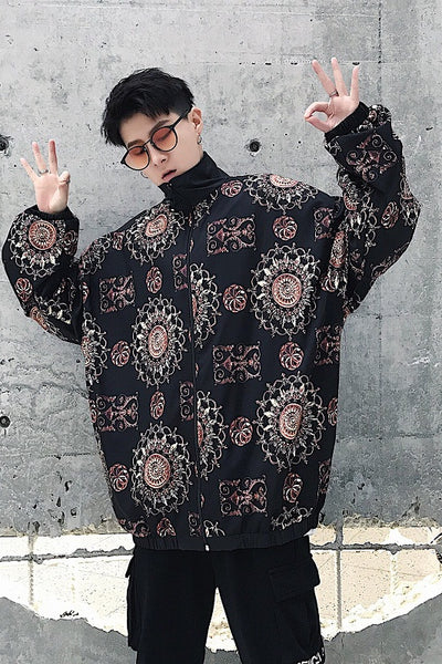 Printed retro pattern oversize MA1 style windbreaker jacket