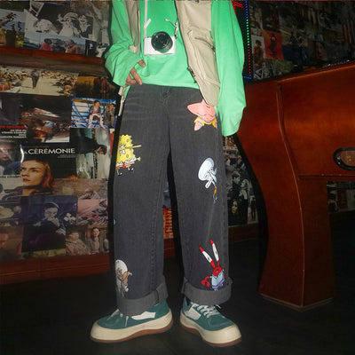 loose cartoon printed nine-point pants