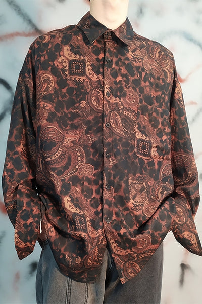 Retro cashew flower print long-sleeved baroque shirt
