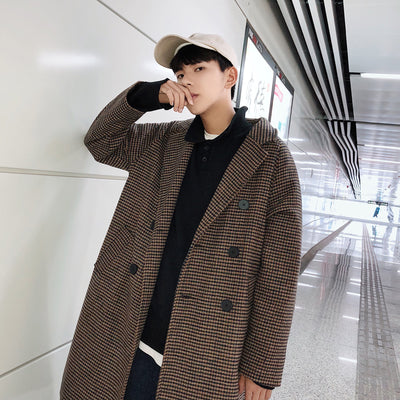 Mid-length suit collar plaid check loose woolen coat