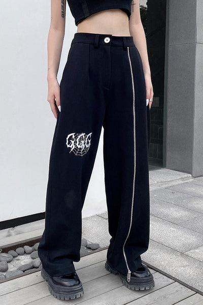 high waist wide-leg loose pants