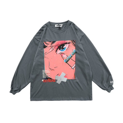 long-sleeved oversize anime printed T-shirt