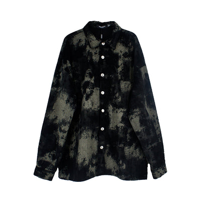 Corduroy Tie-Dye Outer square collar Retro Loose fit Korean skater shirt