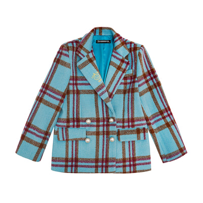 Custom made retro blue grid contrast color pearl buckle casual Girl blazer