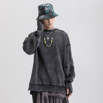 distressed washed out unusual arm hole finish Korean skater sweatshirt in 3 colors