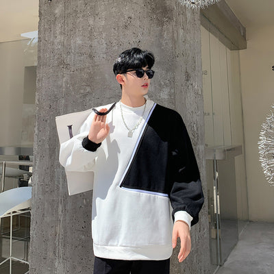 boxy oversize fit bat wing sleeve stitched sweatshirt